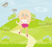 girl runs away from mosquitoes , vector illustration poster
