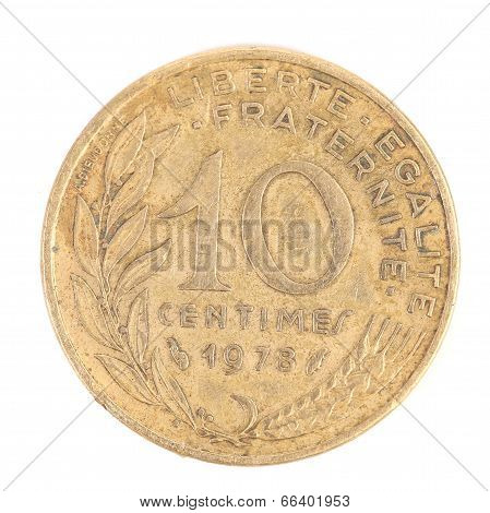 French 1978 Ten Centimes coin.
