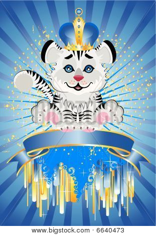sign is a beautiful little tiger in a crown on a bright abstract background poster