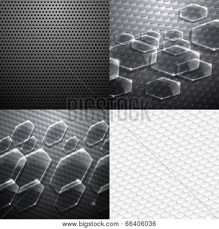 Set of four vector carbon metallic pattern