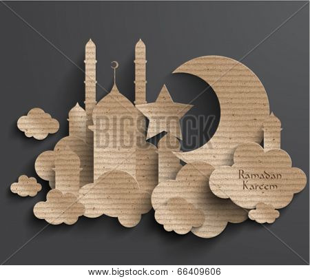 Vector 3D Muslim Cardboard Graphics. Translation: Ramadan Kareem - May Generosity Bless You During The Holy Month.