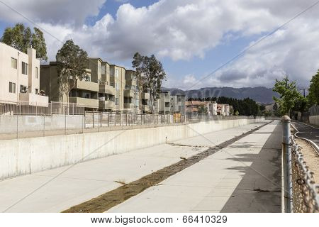 Los Angeles County flood control channel in the northwest San Fernando Valley area of the City of Los Angeles.