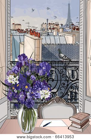 Vector illustration - open window on the roofs of Paris