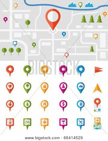 City map with a large set of colorful pin pointers each showing a different vector infographic urban location  utility or service icon  with the pointers isolated on white poster