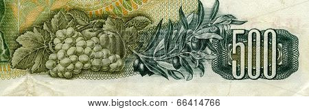 Greece - Circa 1960: Grapes And Olives On 500 Drachmai 1960 Banknote F