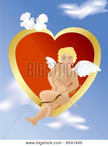 Angel in the clouds, sitting on the heart, bringing love and happiness