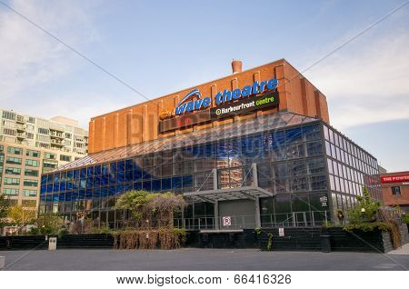TORONTO, CANADA - MAY 31, 2014: Harbourfront Centre entrance, the heart of Toronto�¢??s waterfront, features two forest-inspired squares and an outdoor exhibition and marketplace.