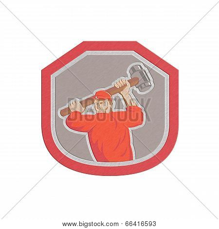 Metallic styled illustration of a union worker striking using smashhammer hammer done in retro style set inside shield crest on isolated white background. poster