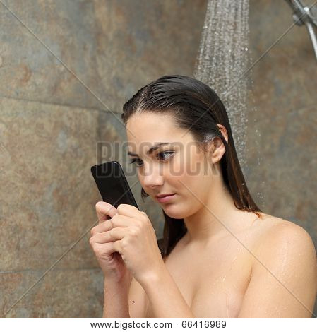 Teenager In The Shower Obsessed With The Smart Phone
