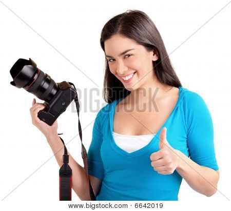 Young Lady Photographer Had A Successful Photo Shoot