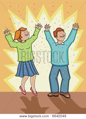 Woman and man celebrating!
