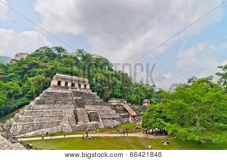 tourists visit Palenque ruins in Chiapas, Mexico