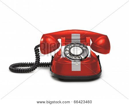 Office: Old And Vintage Telephone With The Swiss Flag