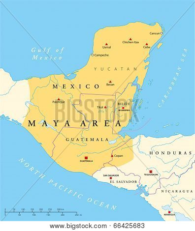 Maya High Culture Area Map