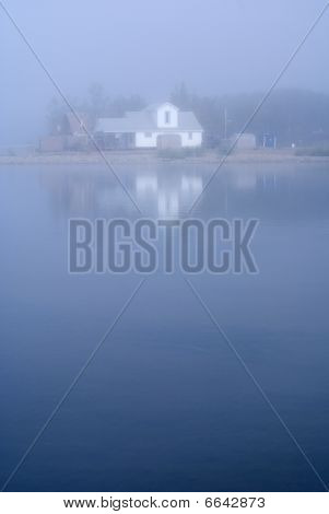 House In The Mist At Fishing Lake