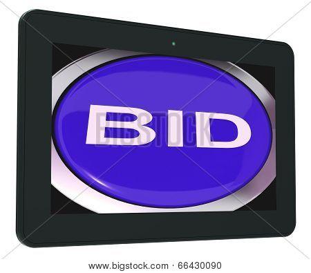 Bid Tablet Shows Online Auction Or Bidding