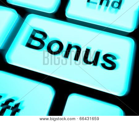 Bonus Keyboard Shows Extra Gift Or Gratuity Online