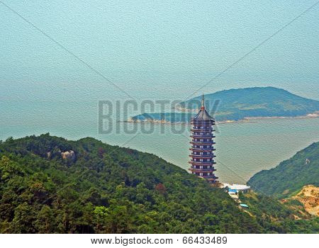 Photo of a gigantic chinese pagoda with sea and island in background stylized and filtered to look like an oil painting. Location: the island of Putuo Shan. poster