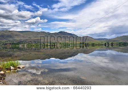 Lake Reflecting Mountains and Clouds