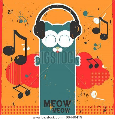 Retro vector card with kitty listening to music in headphones poster