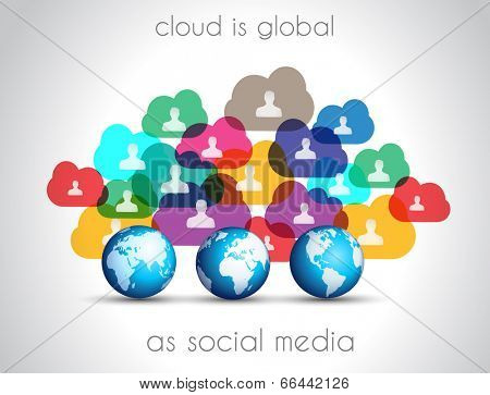 Modern Cloud Globals infographic concept background for social media advertising and communications with real devices mockup.