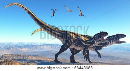 Allosaurus On Mountain