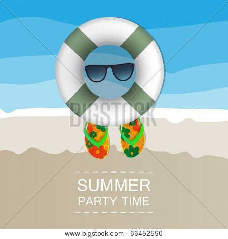 Summer Background - Beach, Sand, Swimming Floats, Sunglasses and Flip Flops. Eps 10 Stock Vector Illustration