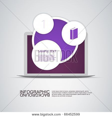 Circle Light Text Boxes with Laptop Computer Can Be Used for Workflow Layout, Diagram, Chart, Web Design. Eps 10 Stock Vector Illustration