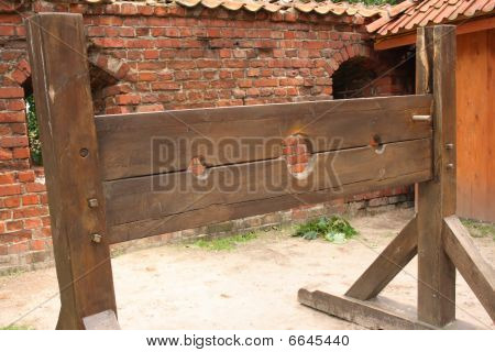 Medieval wooden stocks