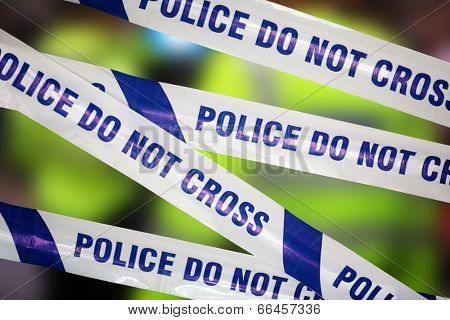 Crime scene investigation police boundary tape concept for law enforcement