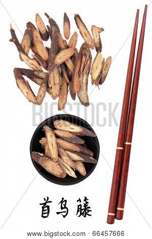 Fleece flower stem chinese herbal medicine with chopsticks and calligraphy script. Translation reads as fleece flower stem. Ye jiao teng. Caulis polyoni multiflori.
