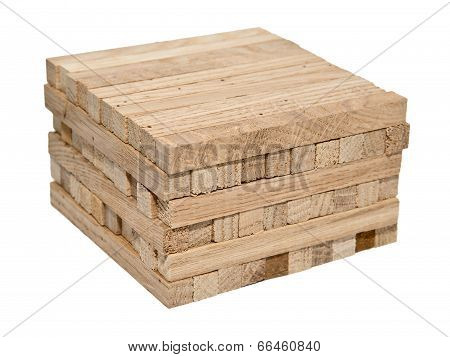 A Pile Of Wooden Blocks Isolated On White Background Without Shadows