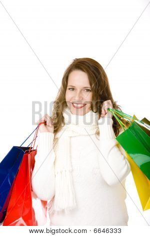 Young Attractive Smiling Woman After Shopping Tour