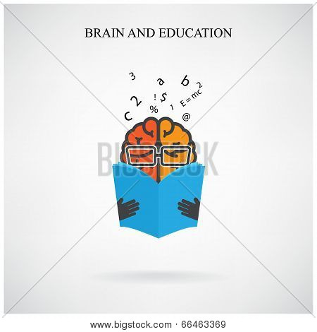 creative brain sign and book symbol on background,education concept.  vector illustration poster