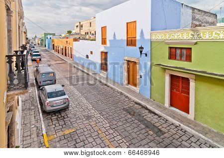 old colonial buildings in Campeche, Mexico