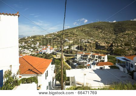 ANDROS, GREECE - APR 29, 2014: View of Andros, is the northernmost island of the Greek Cyclades archipelago in the Aegean Sea - area is 380 km2, 40 km long, and its greatest breadth is 16 km.