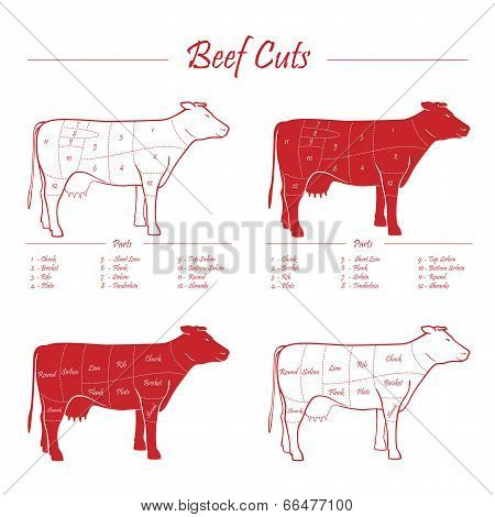 Beef Meat Cuts Scheme Red On White