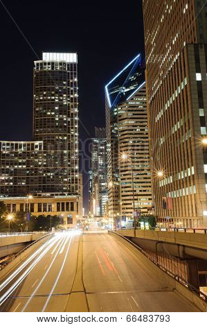 CHICAGO, IL - OCT 4: Chicago downtown at night on October 4, 2011 in Chicago, Illinois. Chicago is the third most populous city in the United States, after New York City and Los Angeles