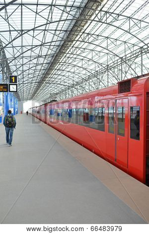 MOSCOW - MARCH 30: Aeroexpress red train in Sheremetyevo Airport on March 30, 2014 in Moscow. Sheremetyevo International Airport is one of the three major airports that serve Moscow