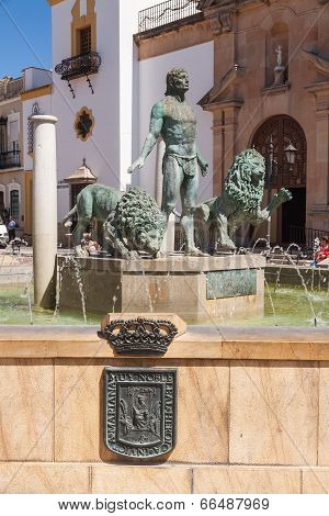Fountain On Socorro Square In Ronda, Spain