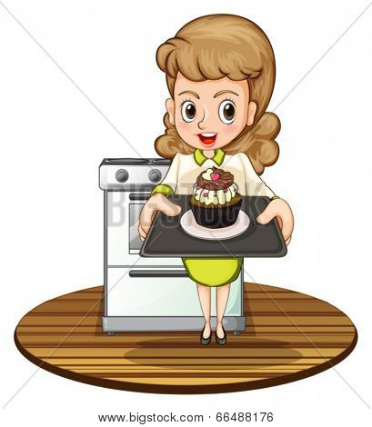 Illustration of a lady baking a cupcake on a white background