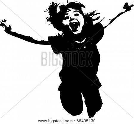 Vector of Jumping girl silouette