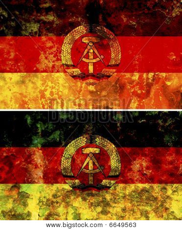 some very old grunge flag of east germany poster