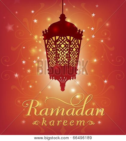 Ramadan greeting card template with lantern graphic and english message