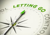 Compass needle pointing the word letting go Green tones. Illustration of psychology concept. poster