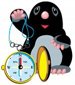cartoon mole holding compass,isolated image for little kids poster