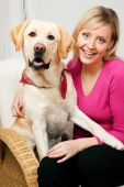Labrador Retriever and his mom looking into the camera poster