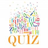 An abstract illustration of a Quiz on a white background poster