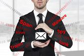 businessman in black suit protecting mail from spam attack malware with hands poster