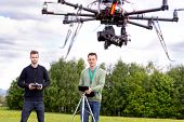 Professional team of a photographer and pilot operating a UAV Photography Drone poster